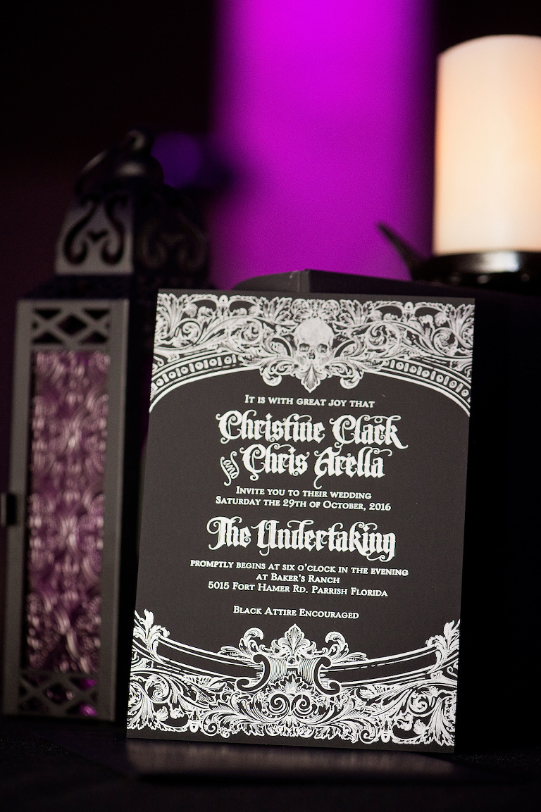 Black and White Victorian Skull Halloween Wedding Invitation
