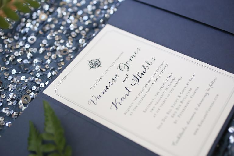 Elegant White and Navy Blue Nautical Wedding Invitation Suite