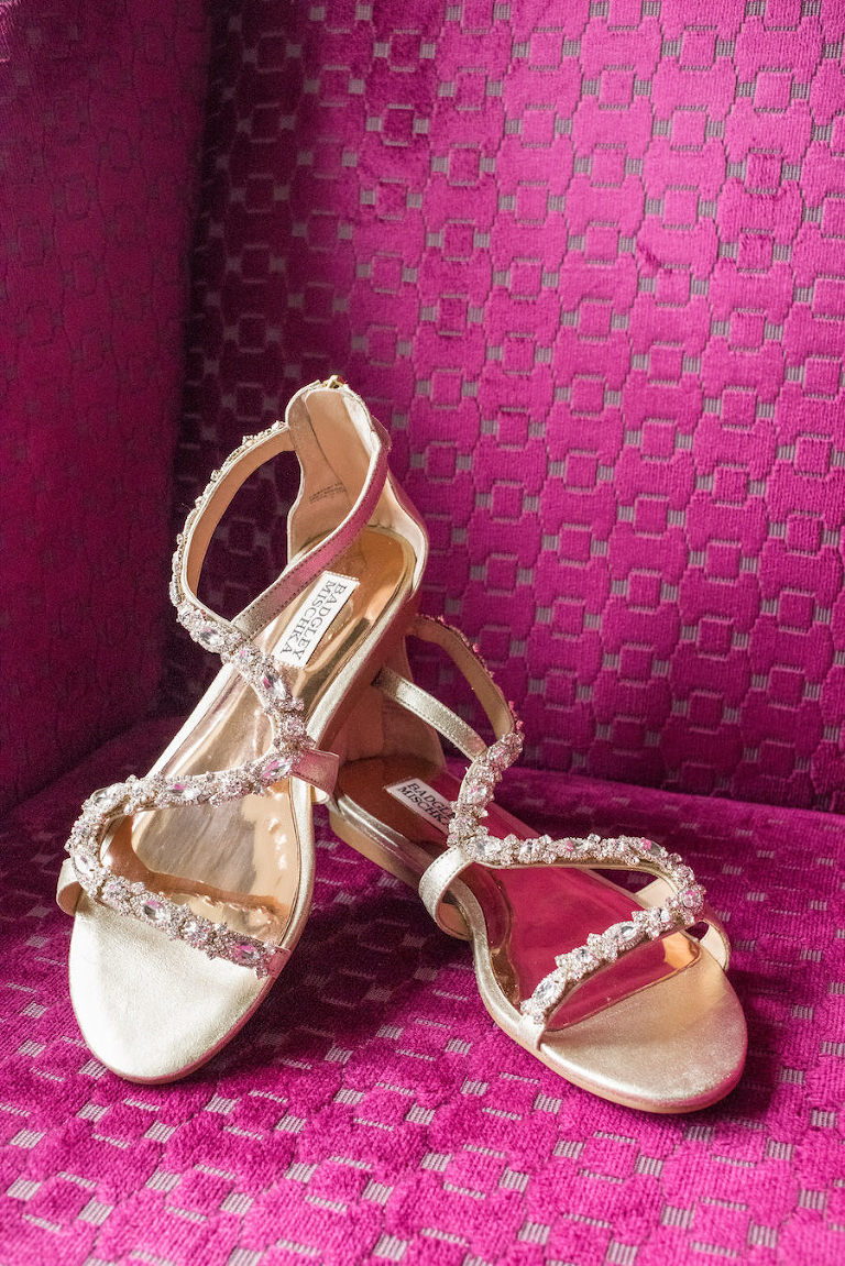 Bejeweled Gold Wedding Badgley Mischka Sandal