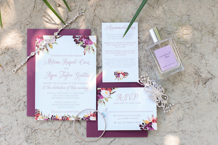 Elegant Artistic Bordeaux Wedding Invitation Suite with Bridal Jewelry