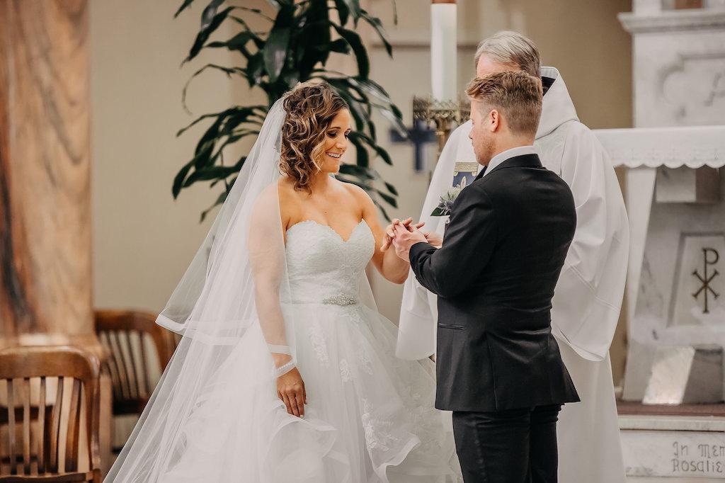 Traditional Church Wedding Ceremony Bride and Groom Portrait   Tampa Bay Wedding Photographer Rad Red Creative