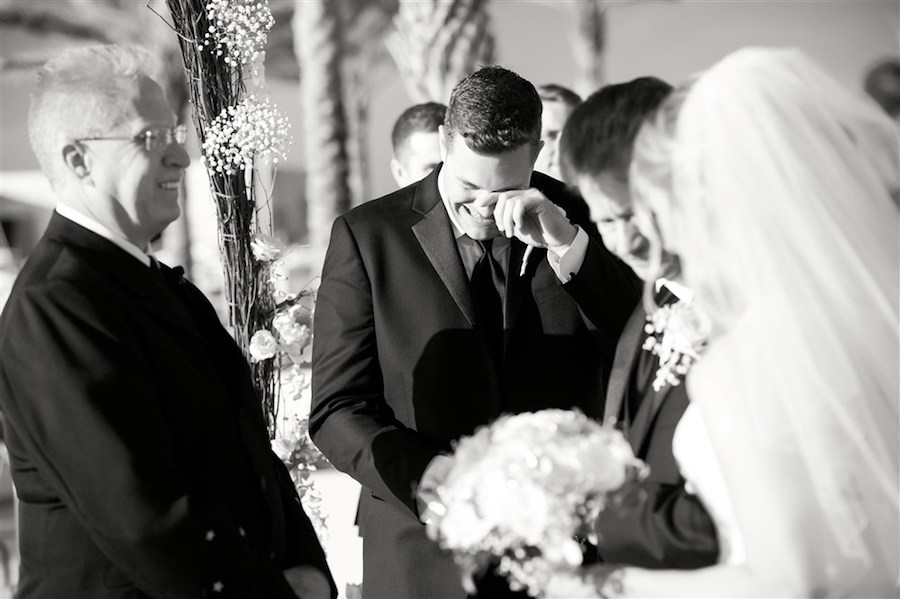 Outdoor Wedding Ceremony Portrait of Emotional Groom   Tampa Wedding Photographer Andi Diamond Photography