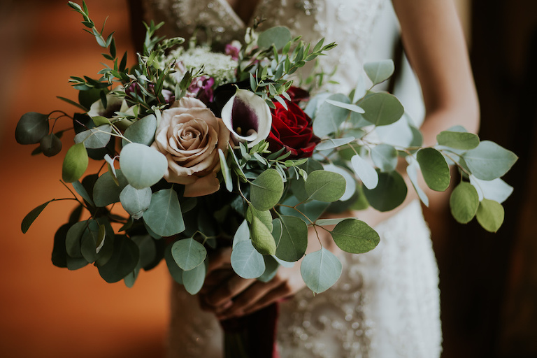 Romantic Red Rose and Blush Taupe Wedding Bouquet with Greenery
