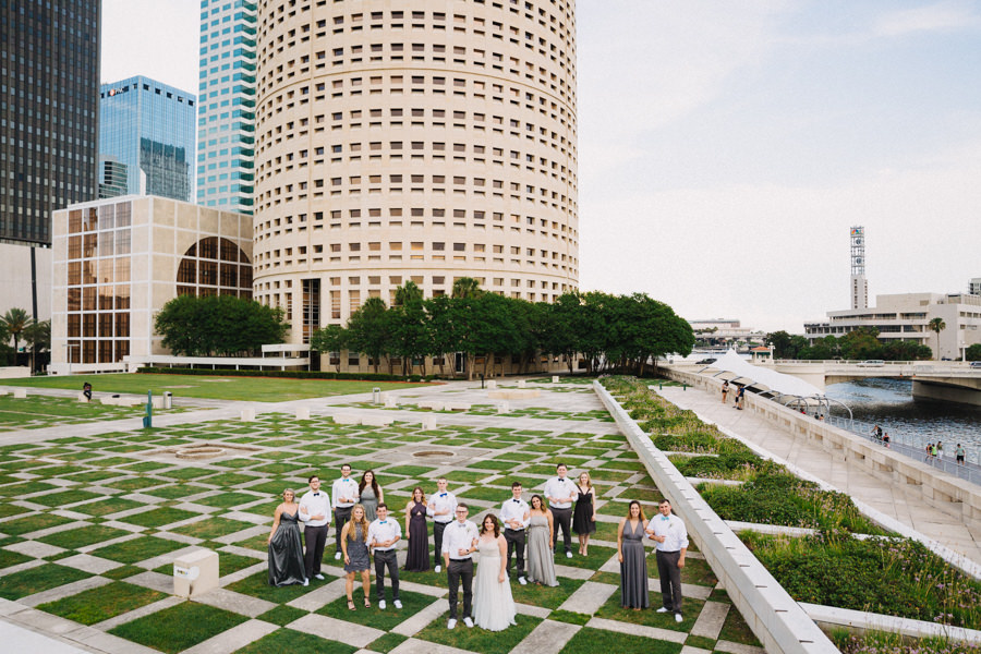 Downtown Tampa Outdoor Gray Wedding Party Portrait   Tampa Bay Wedding