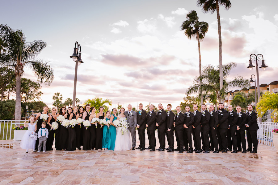Outdoor Wedding Party Portrait with Black Mismatched Bridesmaids Dresses and White Bouquets, Oasis Davids Bridal Bridesmaids Dresses   Clearwater, Florida Wedding