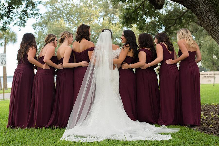 Bridal Party Garden Wedding Portrait with Mismatched Bordeaux Dessy Bridesmaids Dresses   South Tampa Wedding Photographer Caroline & Evan Photography