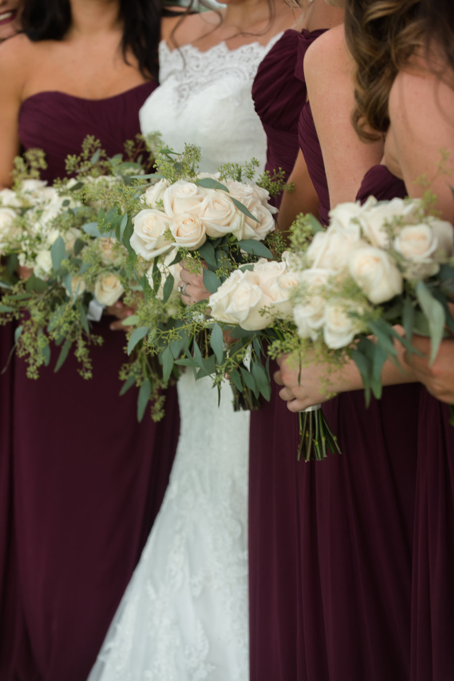 Bridal Party Garden Wedding Portrait with Bordeaux Bridesmaids Dresses and White Rose with Greenery Bouquets   South Tampa Wedding Photographer Caroline & Evan Photography