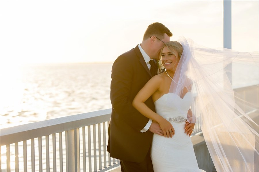 Outdoor Waterfront Wedding Ceremony with Mermaid Sweetheart Belted Dress at Tampa Bay Wedding Venue Westshore Yacht Club   Photographer Andi Diamond Photography