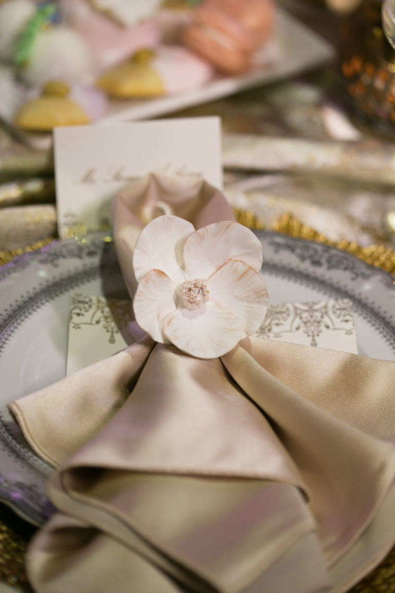 Delicate Floral Napkin Ring with Cream Satin Napkin | French Inspired Marie Antoinette Wedding Reception Decor | Over the Top Rental Linens