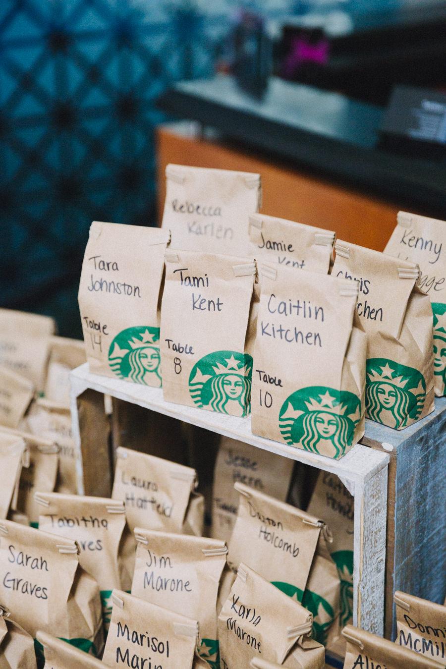 Creative Starbucks Coffee Table Escort Cards   Tampa Bay Wedding
