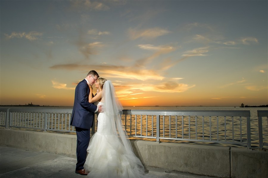 Outdoor Waterfront Wedding Ceremony with Mermaid Sweetheart Wedding Dress at Tampa Bay Wedding Venue Westshore Yacht Club   Photographer Andi Diamond Photography