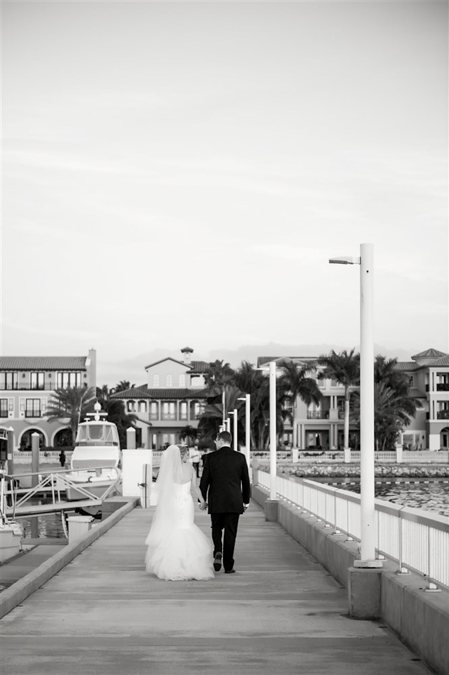 Outdoor Waterfront Wedding Ceremony with White Mermaid Dress at Tampa Bay Wedding Venue Westshore Yacht Club   Photographer Andi Diamond Photography