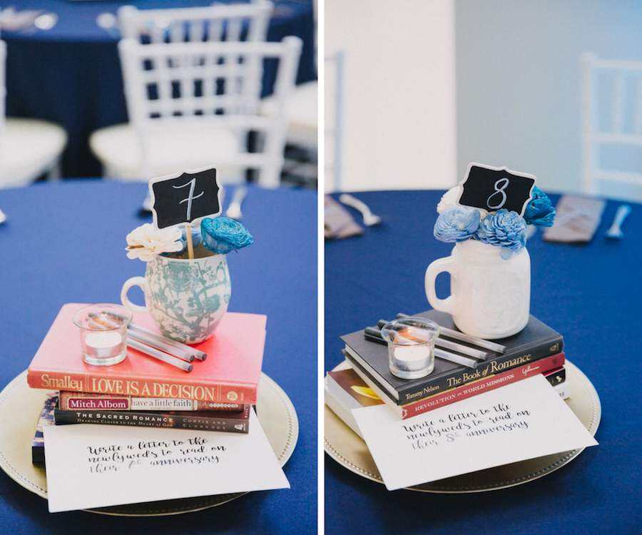 Modern Wedding Reception Creative Table Marker Centerpiece with Books, Guestbook and Pens, and Handwritten Note, Mini Chalkboard Table Number in Ceramic Coffee Mug with Small Blue and White Flowers