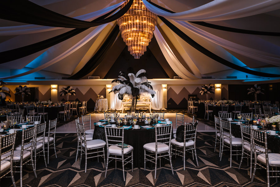Roaring 20s Themed Black And Silver Wedding Reception With Tall