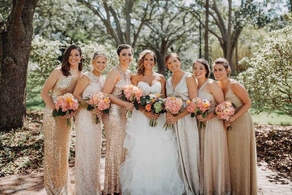 Outdoor Bridal Party Portrait With Mismatched Rose Gold Blush