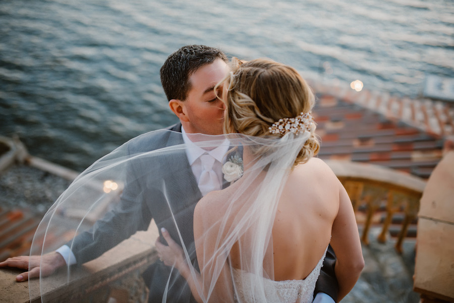 Outdoor Waterfront Bride and Groom Portrait with Jeweled Hairpin at Sarasota Wedding Venue the Ca' d'Zan Mansion