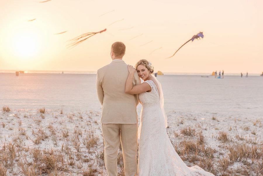 Beach Wedding Portrait with Kites | Treasure Island Wedding | Tampa Bay Wedding Photographer Kristen Marie Photography