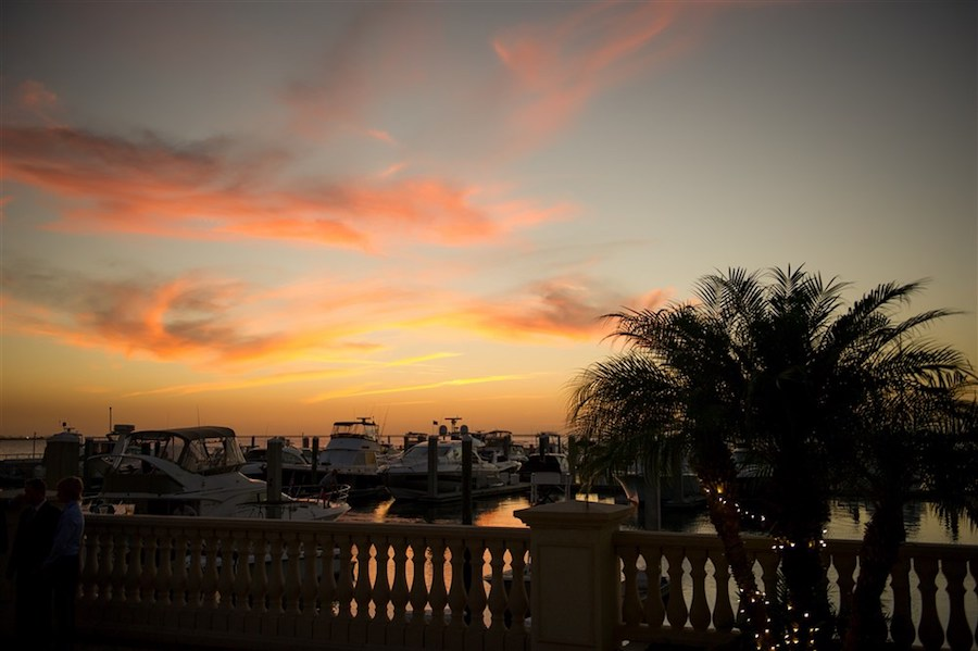 South Tampa Wedding Venue Westshore Yacht Club Sunset with String Lights