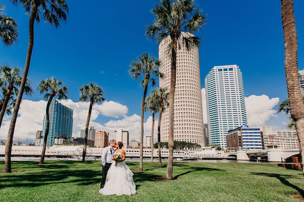 Downtown Tampa Outdoor Park Bride and Groom Wedding Portrait   Tampa Bay Wedding Photography Rad Red Creative