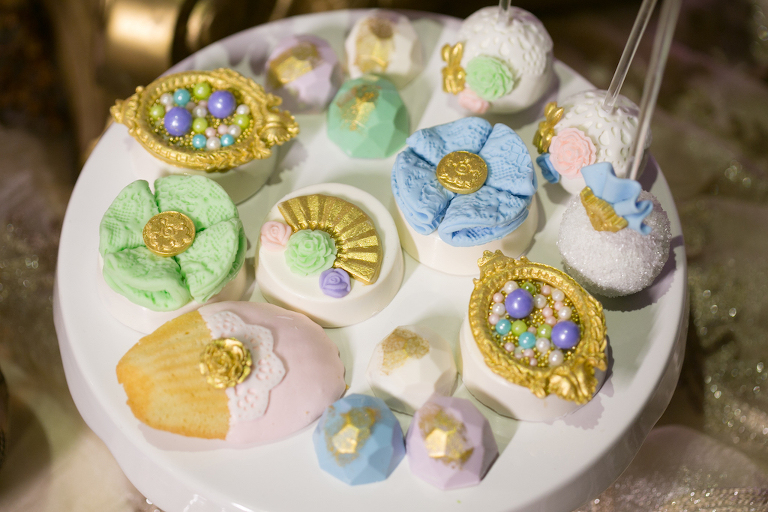 Vintage Treasures Inspired Cake Pops and Desserts In Pink, Green, and Purple with Gold by Tampa Bay Wedding Bakery Sweetly Dipped Confections