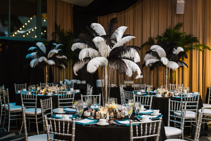 Roaring 20s Themed Black and Silver Wedding Reception with Tall Feather Centerpieces, Silver Chiavari Chairs, Black Linen   Tampa Bay Wedding Venue Ruth Eckerd Hall