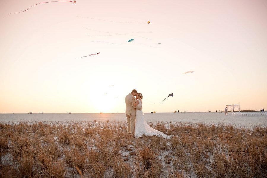 Sunset Beach Wedding Portrait with Kites | Treasure Island Wedding | Tampa Bay Wedding Photographer Kristen Marie Photography