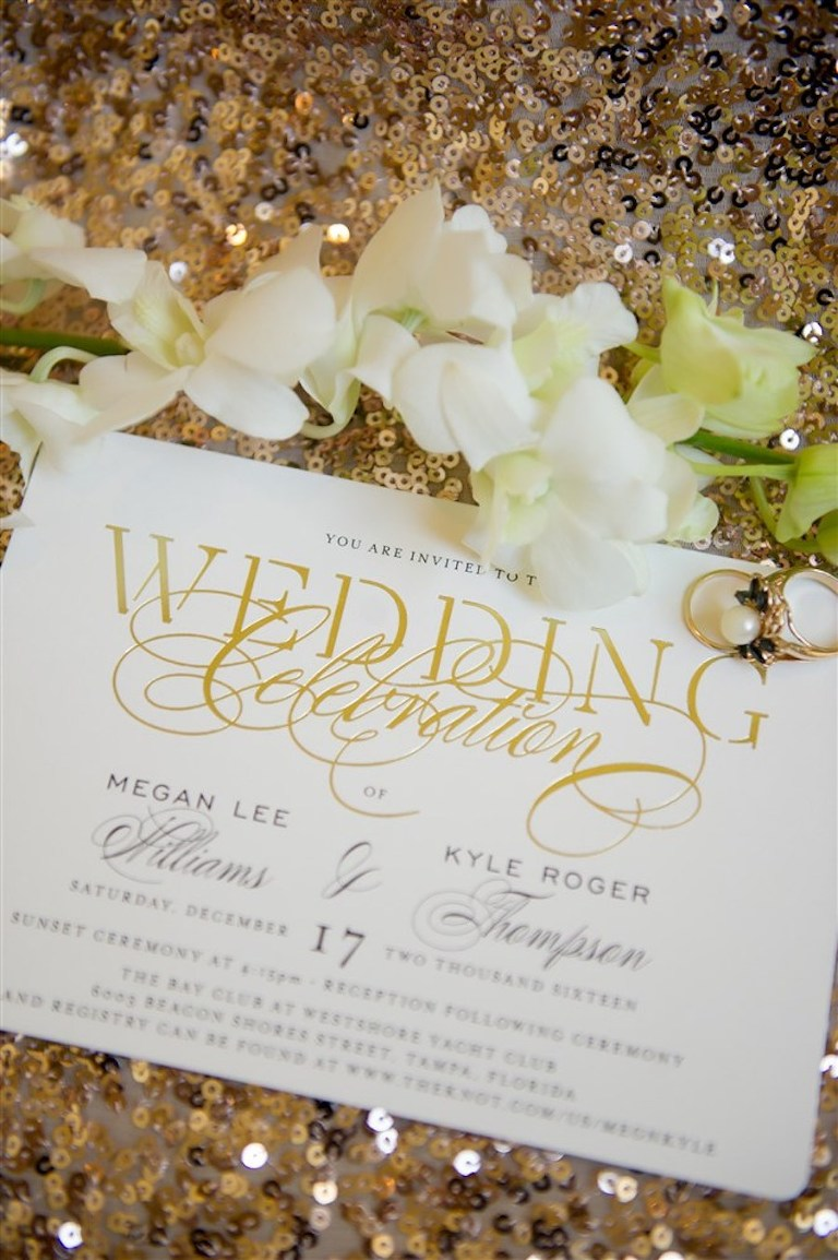 Elegant Gold Wedding Invitation with Gold Pearl Engagement Ring