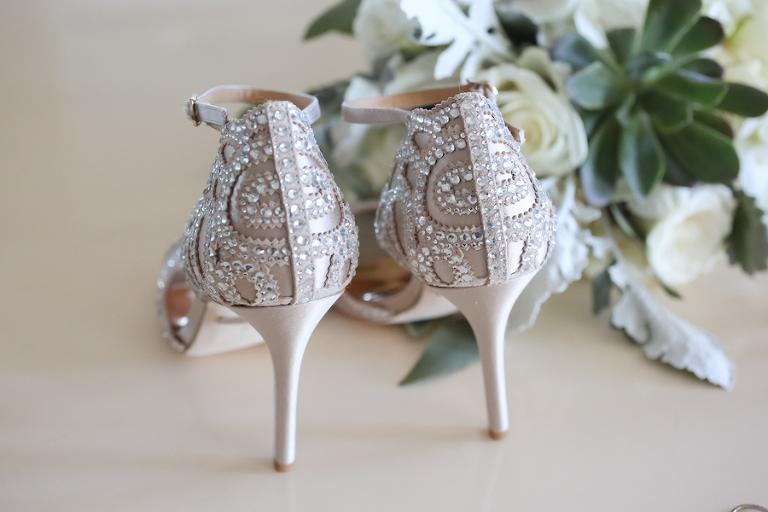 Cream and Rhinestone Stiletto Strappy Sandal Wedding Shoes