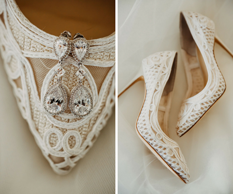 Bridal Accessories Detail Photo with Lace White Pointed Toe Wedding Shoes and Crystal Drop Earrings