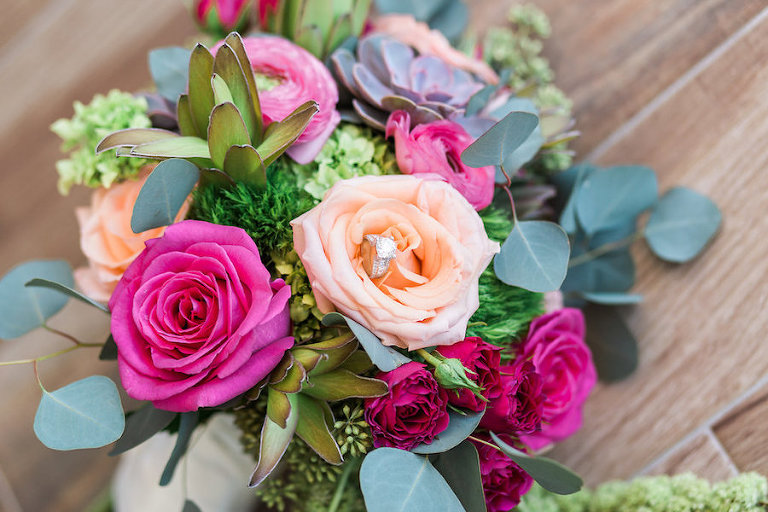 Engagement Ring with Peach and Fuchsia Rose Bouquet with Greenery and Succulents | Sarasota Tropical Wedding