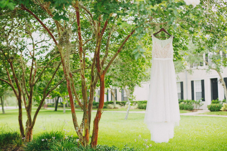 Ivory Floral Lace Belted A Line Watters Wedding Dress on Hanger