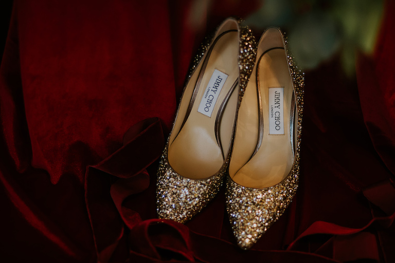 Gold Glitter Jimmy Choo Wedding Shoes
