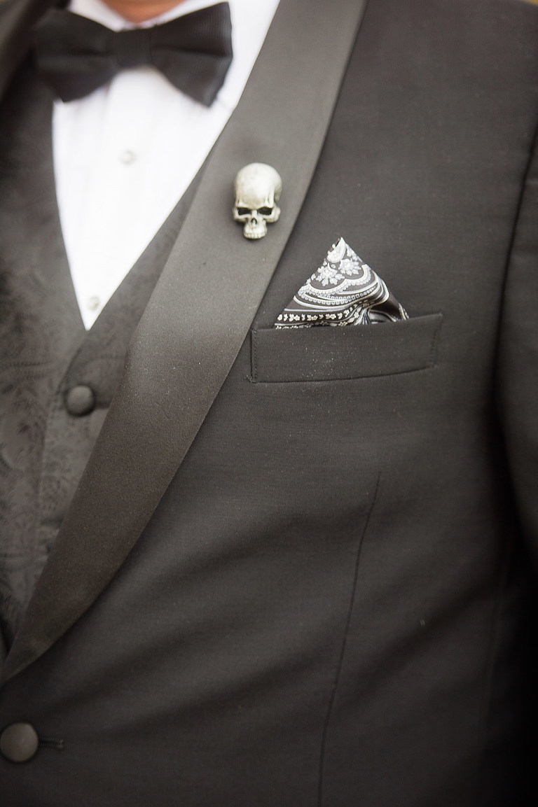 Halloween Wedding Groom Skull Pin and Black and White Pocket Square