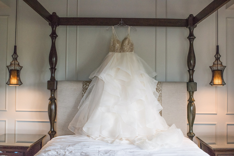 Gold Beaded Bodice Ball Gown Wedding Dress on Hanger