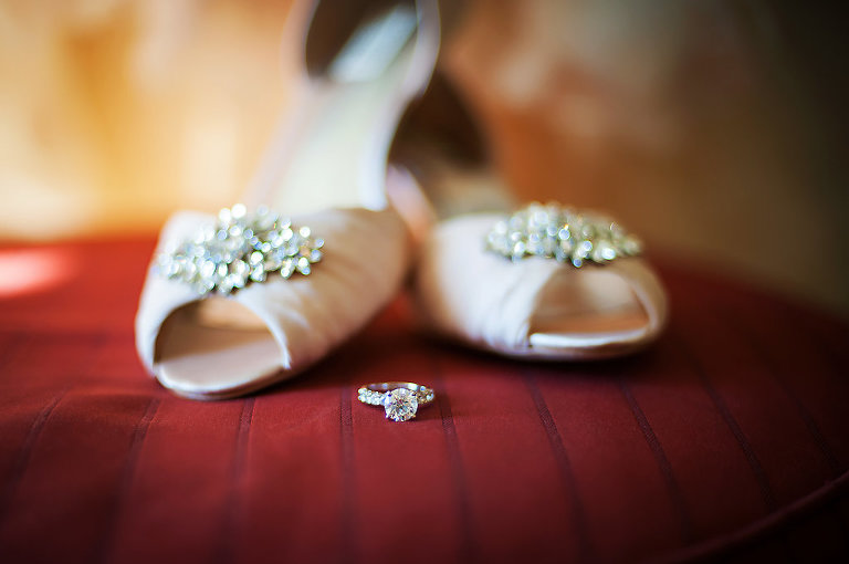 Blush Pink Peep Toe Wedding Shoes with Rhinestone and Engagement Ring