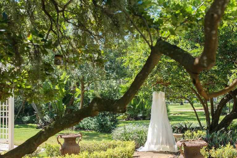 Allure Sweetheart Bridal Gown On Dress Hanger at Florida Wedding Venue Tampa Garden Club