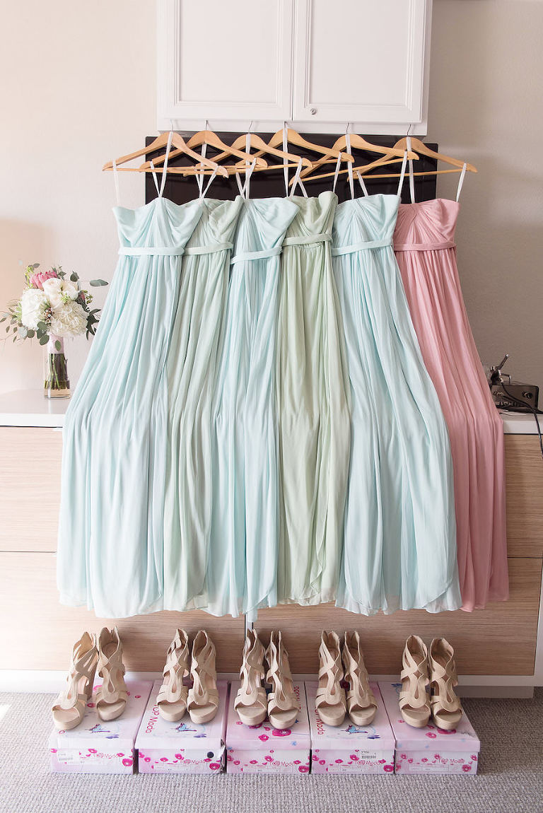 David's Bridal Pastel Bridesmaids Dresses in Mint, Meadow, and Blush with Nude Platform Open Toed Shoes for Romantic Beach Themed Wedding