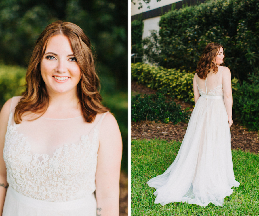 Outdoor Downtown Tampa Garden Bridal Portrait in Ivory Floral Lace Belted A Line Watters Wedding Dress