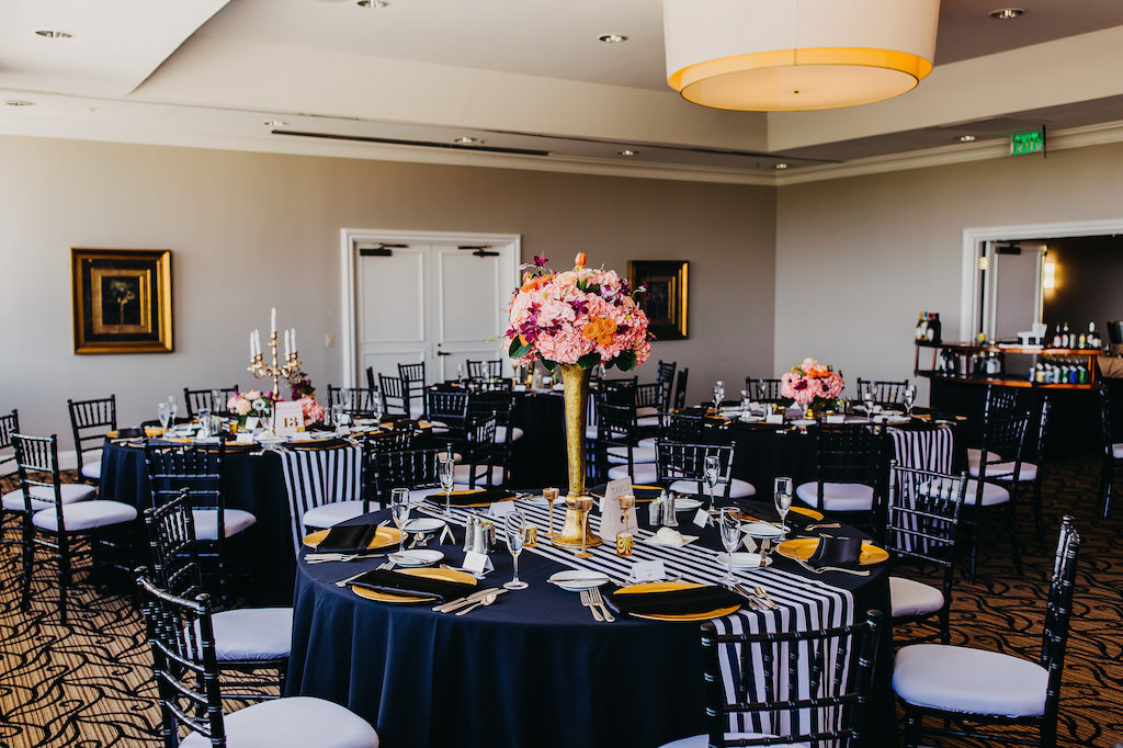 Black Gold And White Wedding Reception Decor With Striped Runners
