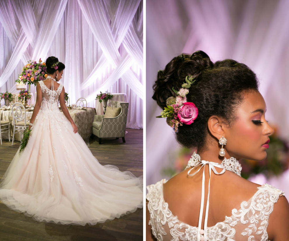 French Inspired Marie Antoinette Wedding Reception Bridal Portrait with Cathedral Train Ballgown Wedding Dress and Tropical Pink Rose with Greenery Hair Accessory and Large Pearl Drop Earring and Lace Collar | Ballgown Wedding Dress from Tampa Bay Bridal Shop Truly Forever Bridal | Tampa Bay Wedding Photographer Carrie Wildes Photography