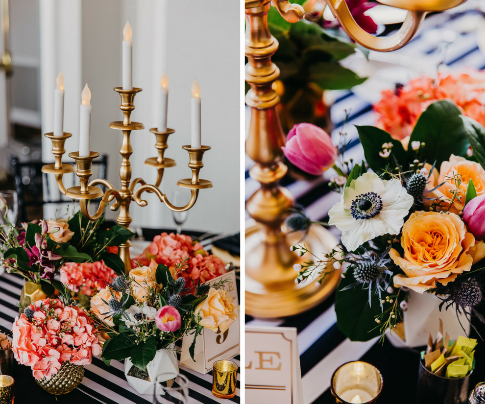 Bright Tropical Wedding Reception Centerpieces with Peach and Orange Roses, White Anemones, and Greenery on Striped Table Runners with Gold Candelabra   Tampa Bay Wedding