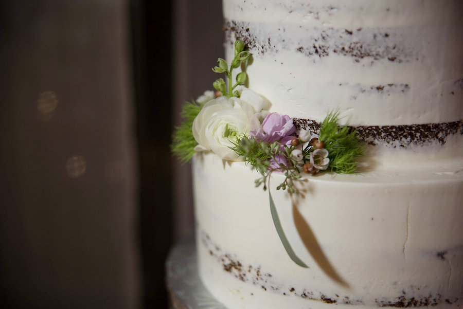 Natural Semi-Naked Beach Inspired Floral Decor on Natural Round Wedding Cake by Tampa Bay Wedding Bakery The Artistic Whisk