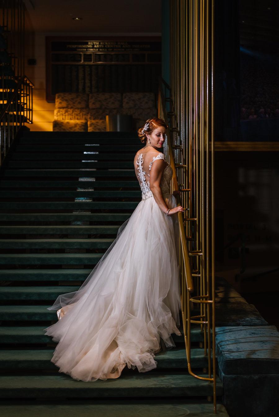 Nighttime Bridal Portrait wearing Maggie Sottero Lace Back Ballgown Blush Wedding Dress   Tampa Bay Wedding Venue Ruth Eckerd Hall