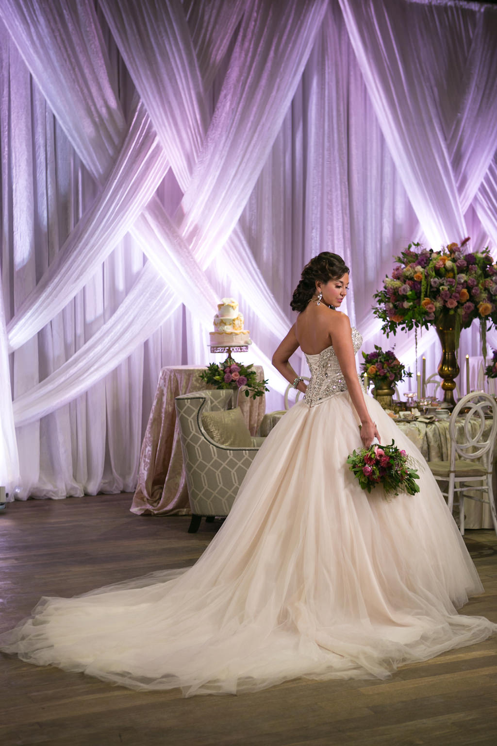 French Inspired Marie Antoinette Wedding Reception Bridal Portrait with Tropical Greenery Fan Style Bridal Bouquet and Large Pearl Drop Earring and Lace Collar | Ballgown Wedding Dress from Tampa Bay Bridal Shop Truly Forever Bridal | Tampa Bay Wedding Photographer Carrie Wildes Photography