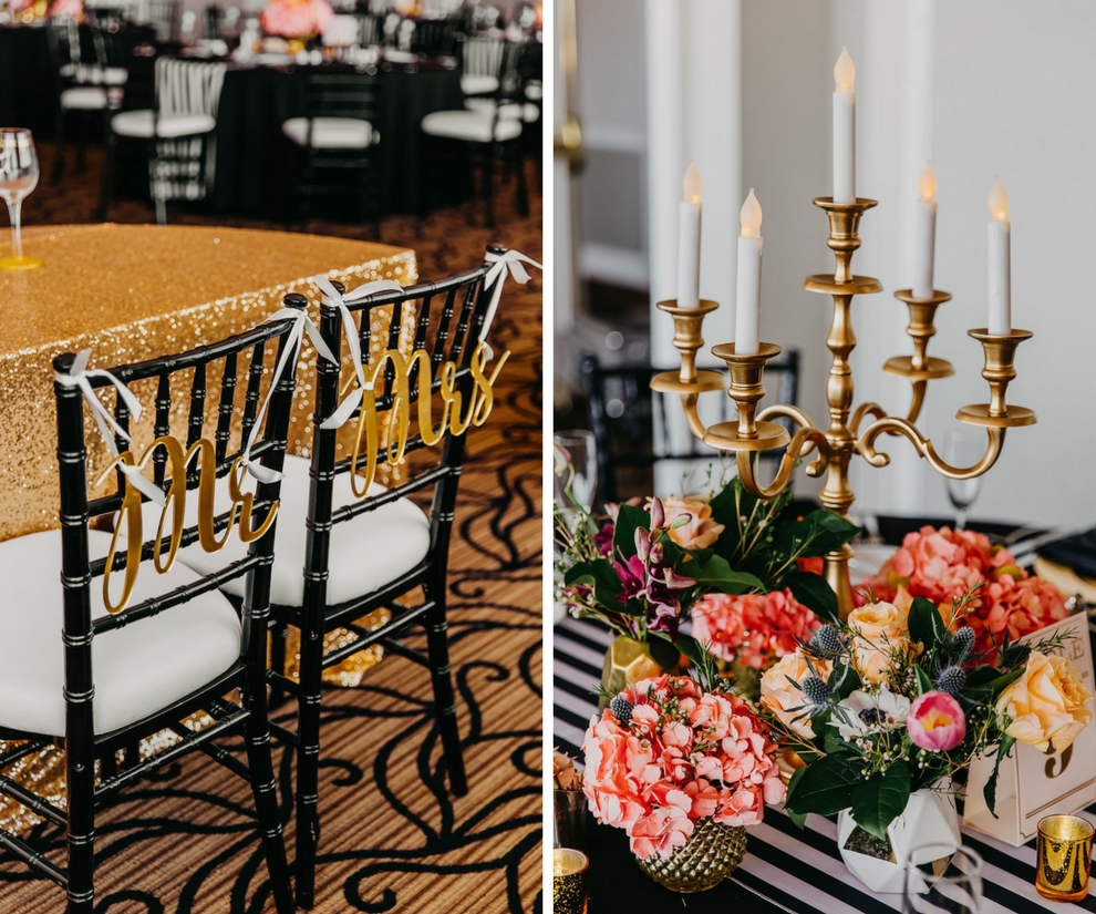 Bright Tropical Wedding Reception Centerpiece Flowers with Peach and Orange Roses, White Anemones, and Greenery on Striped Table Runners with Gold Candelabra   Stylish Gold Mr and Mrs Black Chiavari Chair Signs and Sparkling Tablecloth   Tampa Bay Wedding