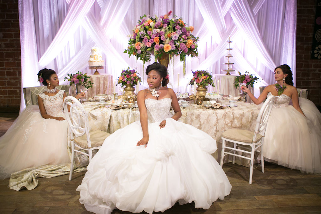 French Inspired Marie Antoinette Brides in Blush Ballgown Wedding Dresses with Tropical Florals | St. Petersburg Wedding Venue NOVA 535 | Tampa Bay Wedding Photographer Carrie Wildes Photography | Planner UNIQUE Weddings and Events | Dress Shop Truly Forever Bridal