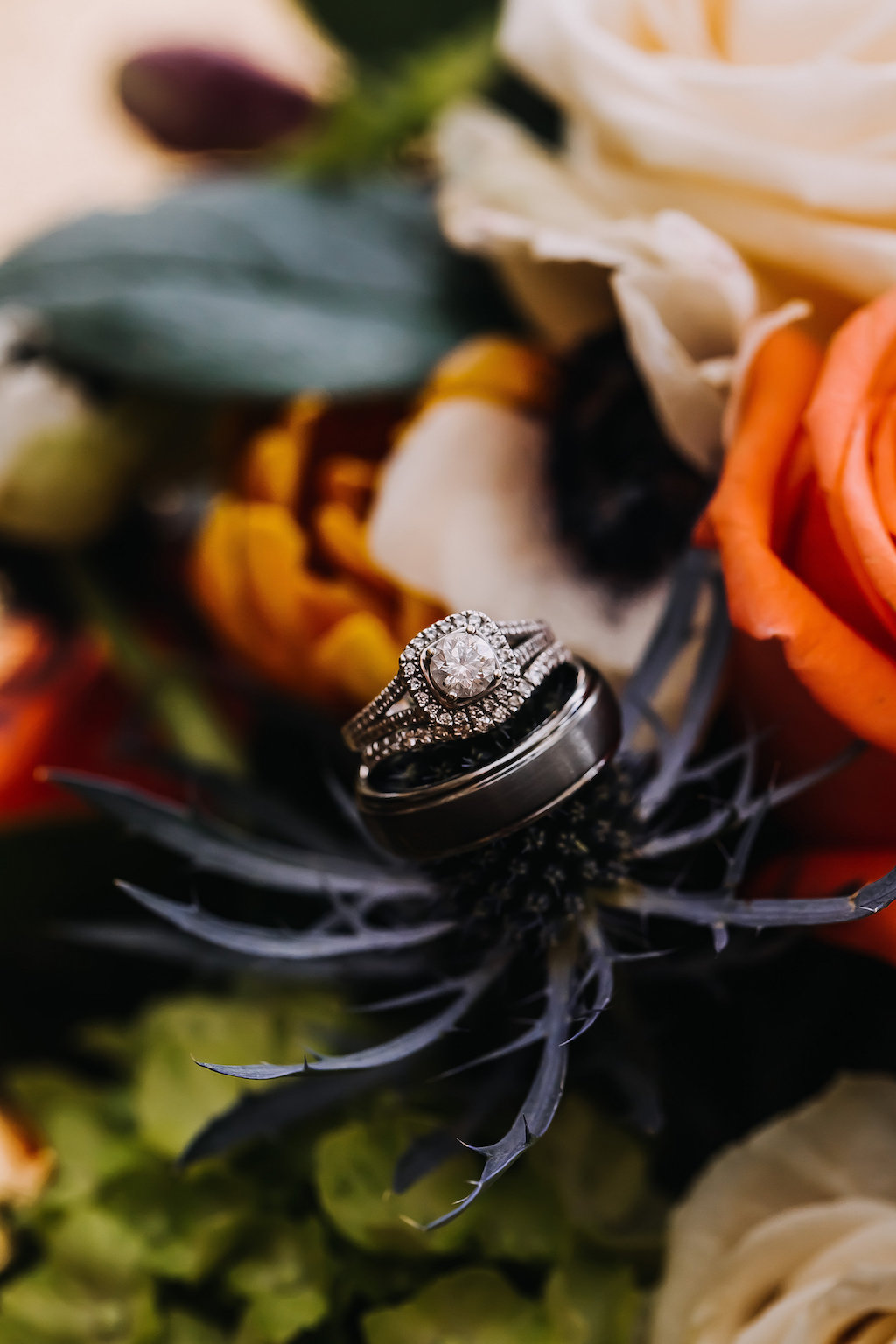 Engagement Ring and Wedding Band on Tropical Bouquet