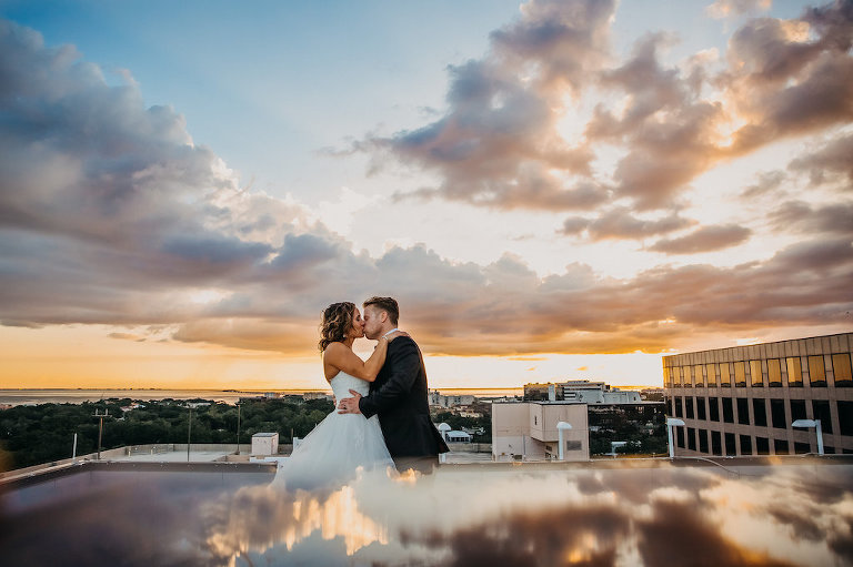 Sunset Bride and Groom Outdoor Rooftop Downtown Tampa Wedding Portrait by Tampa Bay Wedding Photographer Rad Red Creative | Private Venue The Centre Club