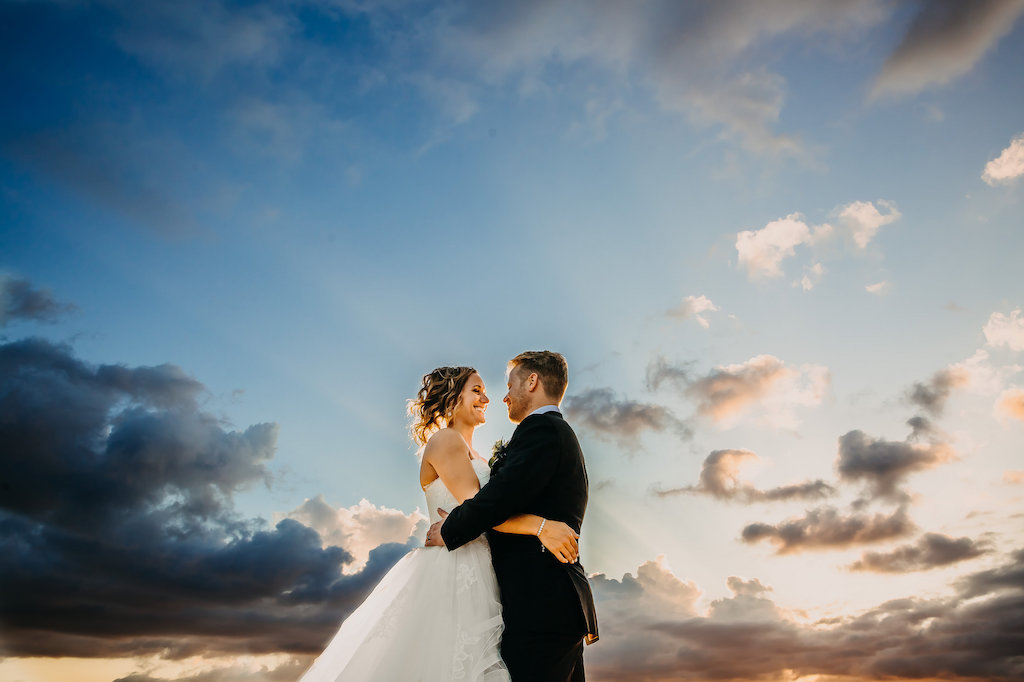 Sunset Bride and Groom Outdoor Rooftop Downtown Tampa Wedding Portrait by Tampa Bay Wedding Photographer Rad Red Creative   Private Venue The Centre Club