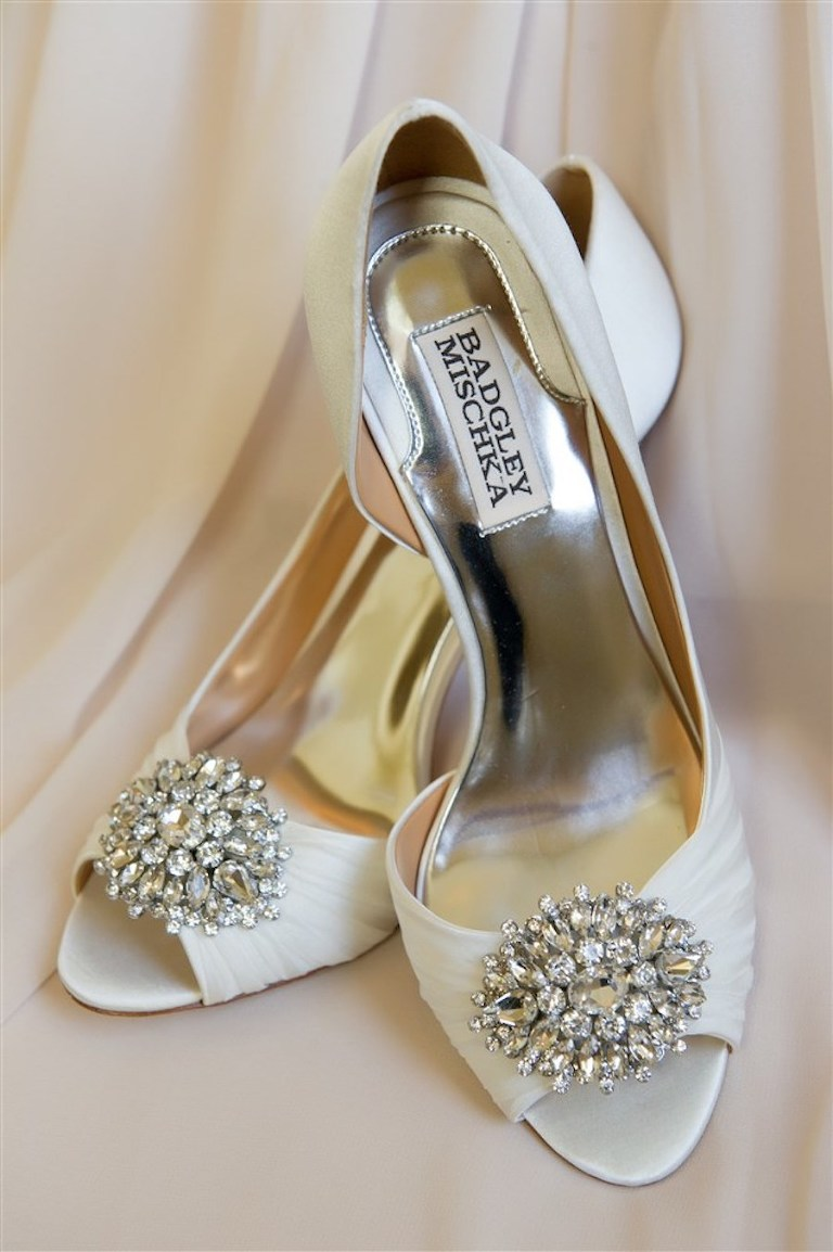 Peep Toe Ivory Badgley Mischka Wedding Shoes with Rhinestone